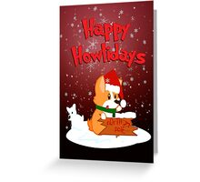 Happy Howlidays - Red w/ Text Greeting Card