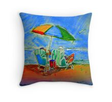 AnOther OReilly ORiginal Painting Half Pint & Mr O Reading at the beach the Journety to be Real Throw Pillow