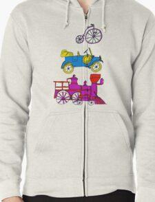 Vintage Transportation Tee Shirt Zipped Hoodie