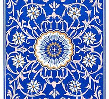 Blue Floral Mandala Pattern by RedPine