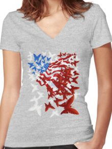 The Butterfly Flag Women's Fitted V-Neck T-Shirt