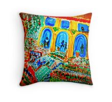 AnOther OReilly ORAiginal Painting  golden arches flower garden Throw Pillow