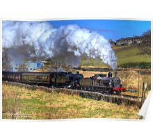 Steam Train Passes Haworth Poster