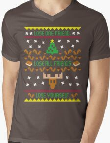Plays With Squirrels Manifesto On A Christmas Sweater Mens V-Neck T-Shirt