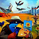 Birdman paints flowers by Guntis Jansons