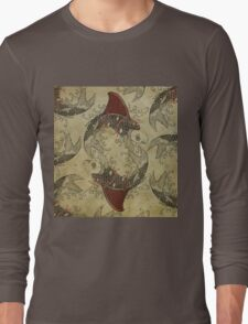 ying and yang shark fin goldfish Long Sleeve T-Shirt