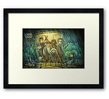 Waiting at the bus stop Framed Print