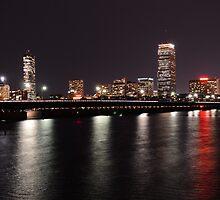 Boston Skyline at Night  by Sara Bawtinheimer