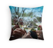 Wine Tasting with Friends Throw Pillow