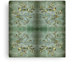 Golden Leaves on Green Background Canvas Print