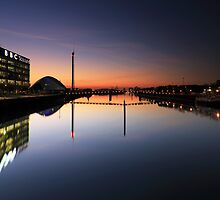 Pacific Quay, River Clyde, Glasgow at Night by Maria Gaellman