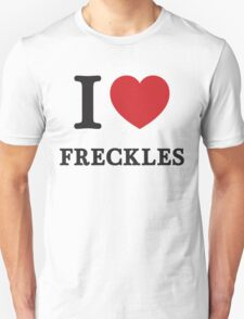 I Love Freckles ( Red Heart ) Unisex T-Shirt