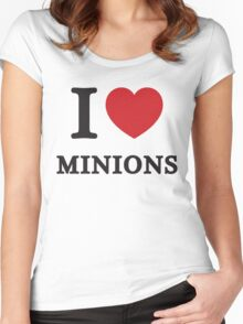 I Love Minions ( Red Heart ) Women's Fitted Scoop T-Shirt