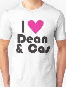 I Love Dean and Cas ( Pink Heart ) T-Shirt