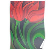 Red Tulip Diptych (Left) Poster