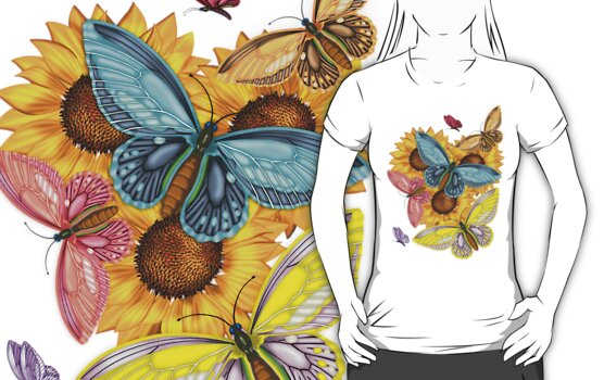 Pretty Butterfly T-Shirt With Sunflowers by Moonlake
