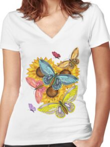 Pretty Butterfly T-Shirt With Sunflowers Women's Fitted V-Neck T-Shirt