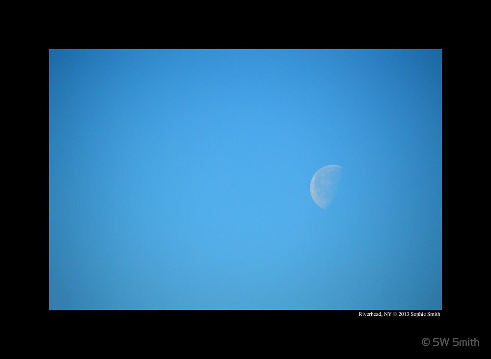 Morning Half Moon - Riverhead, New York by © Sophie W. Smith