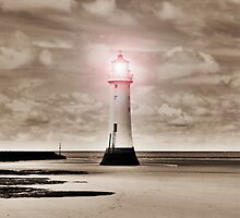 Sepia Surreal Lighthouse 2 by DavidWHughes