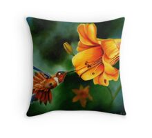 Rufous Hummingbird and the Lily Throw Pillow