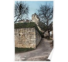 Castle Castelnaud with a gardner pruning orchard trees 19840227 0018  Poster