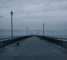 Abandoned Pier, New Brighton Pier in B&W, New Zealand by Harmeet Gabha