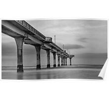 New Brighton Pier in B&W, New Zealand Poster