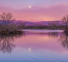 Pink Sawhill Moonset by Gregory J Summers