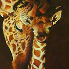 Mother and baby giraffe - oil painting by Christina Brunton