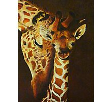 Mother and baby giraffe - oil painting Photographic Print