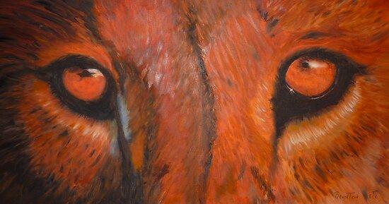 Tiger eyes - oil painting by Chris Brunton