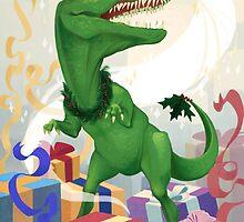 Christmas Unicorn T-Rex by roszkowska