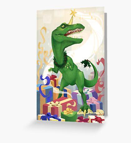 Christmas Unicorn T-Rex Greeting Card
