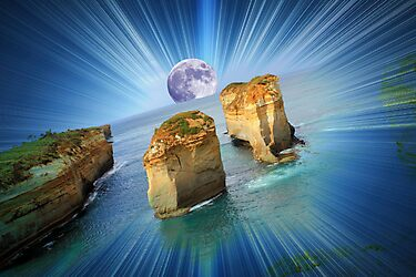 "Moonrise over ""The Twelve Apostles""......(in your dreams...) by Kerry  Hill"