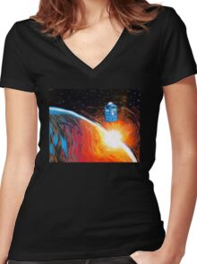 Time Travel Tardis Women's Fitted V-Neck T-Shirt