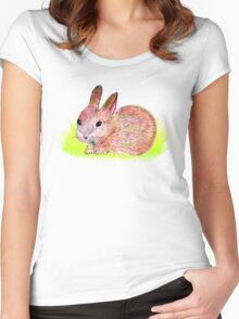 Bunny in the grass Women's Fitted Scoop T-Shirt
