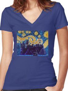 Hogwarts Starry Night Women's Fitted V-Neck T-Shirt