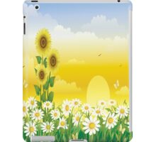 Sunny Day, Sunflowers , Butterflies, Birds , White Flowers iPad Case iPad Case/Skin