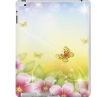 Spring , Sparkles , Pink Flowers, Yellow and Orange Butterflies iPad Case iPad Case/Skin