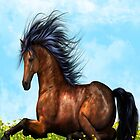 Brown Horse sitting on the flowers and grass iPad Case by AdrianeJ