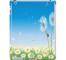 Spring , White Flowers , Butterflies , Dandy Lion Flowers and Ladybug iPad Case iPad Case/Skin