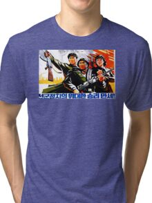 North Korean Propaganda - Troops Tri-blend T-Shirt