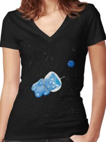 Gummy Bear in Space Women's Fitted V-Neck T-Shirt