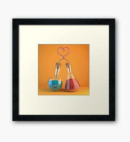 cute chemistry - flasks in love Framed Print