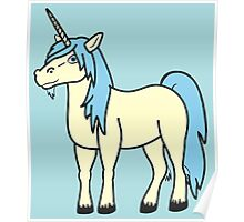 Light Blue & Cream Unicorn Poster