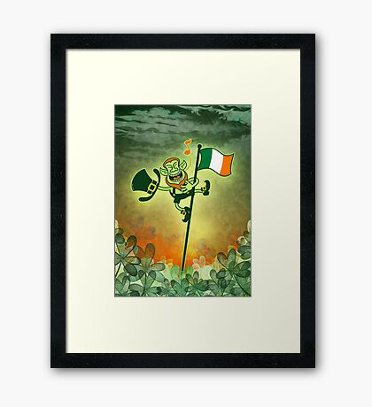 Green Leprechaun Singing on a Flag Pole Framed Print