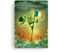Green Leprechaun Singing on a Flag Pole Canvas Print