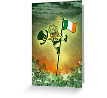 Green Leprechaun Singing on a Flag Pole Greeting Card