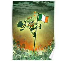 Green Leprechaun Singing on a Flag Pole Poster