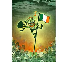 Green Leprechaun Singing on a Flag Pole Photographic Print